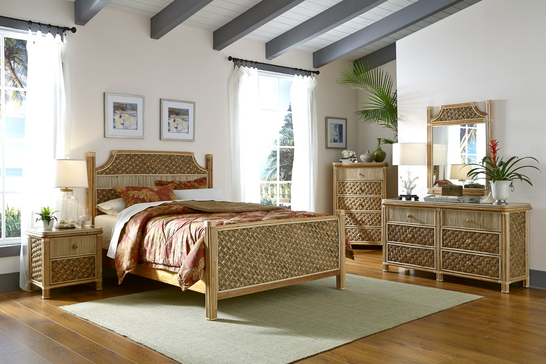Panama Jack Bedroom Furniture Amazoncom Mandalay 5 Piece Natural Wicker Rattan Bedroom