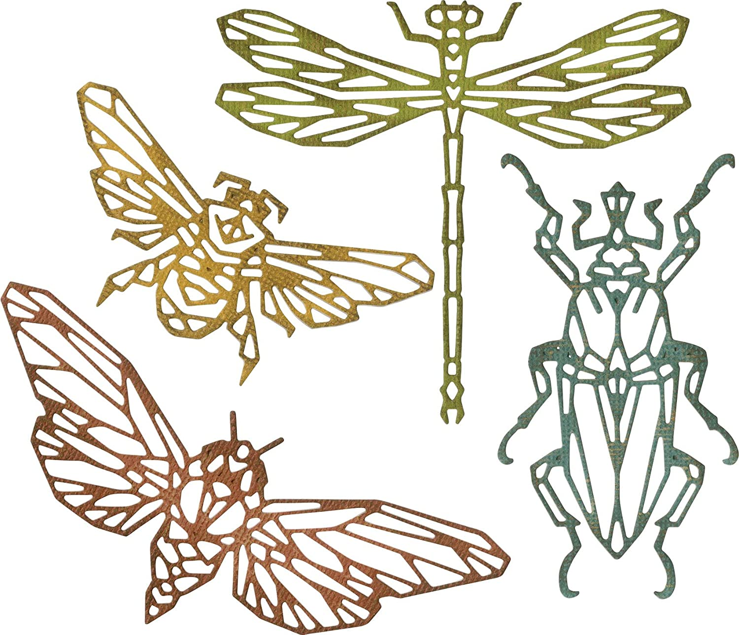 Sizzix, Geo Insects Thinlits Die Set , Tim Holtz, 4 Pack, Multiple Sizes