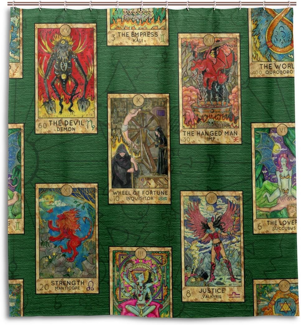 ALAZA Tarot Cards Vintage Shower Curtain 72 x 72 Inch Waterproof Polyester Decoration Bathroom Curtain with Hooks
