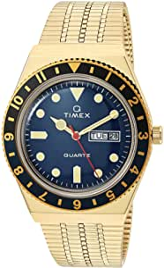 Timex 38 mm Q Timex Black/Blue 3-H Gold Case Blue Dial Gold Bracelet