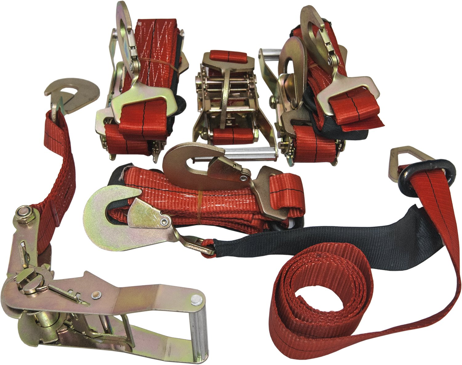 4 Axle Straps Car Carrier Tie Down Straps with Ratchets Tow Straps - Red by GPD