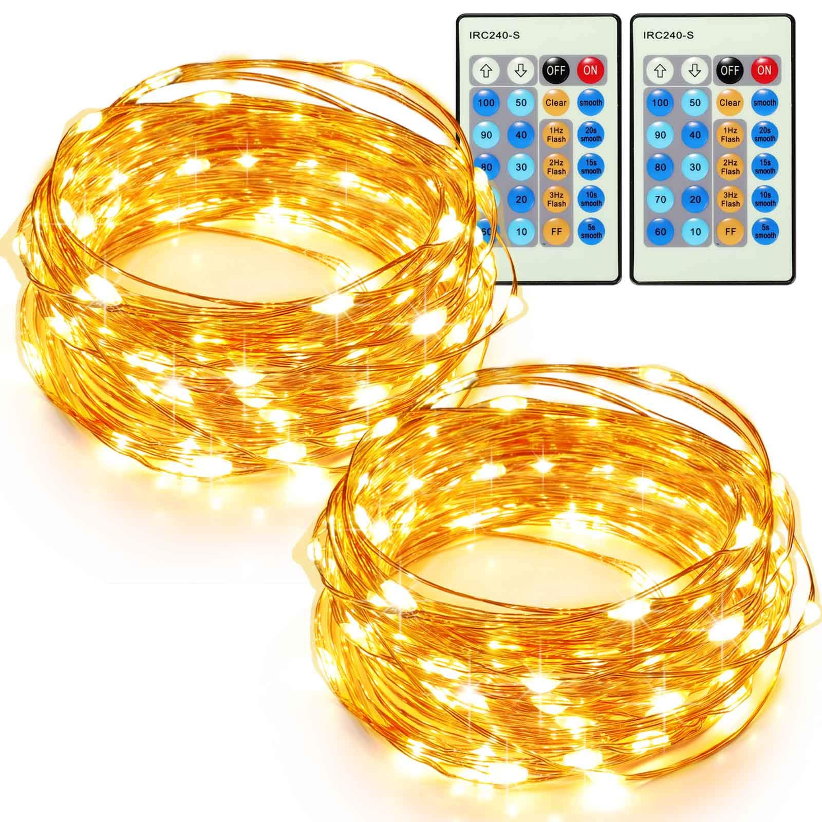 TaoTronics 33ft 100 LED String Lights Plug In 2 Pack Dimmable with Remote Control, Waterproof Decorative Lights for Bedroom, Patio, Garden, Gate, Yard, Parties, Wedding(Copper Wire Lights, Warm White)