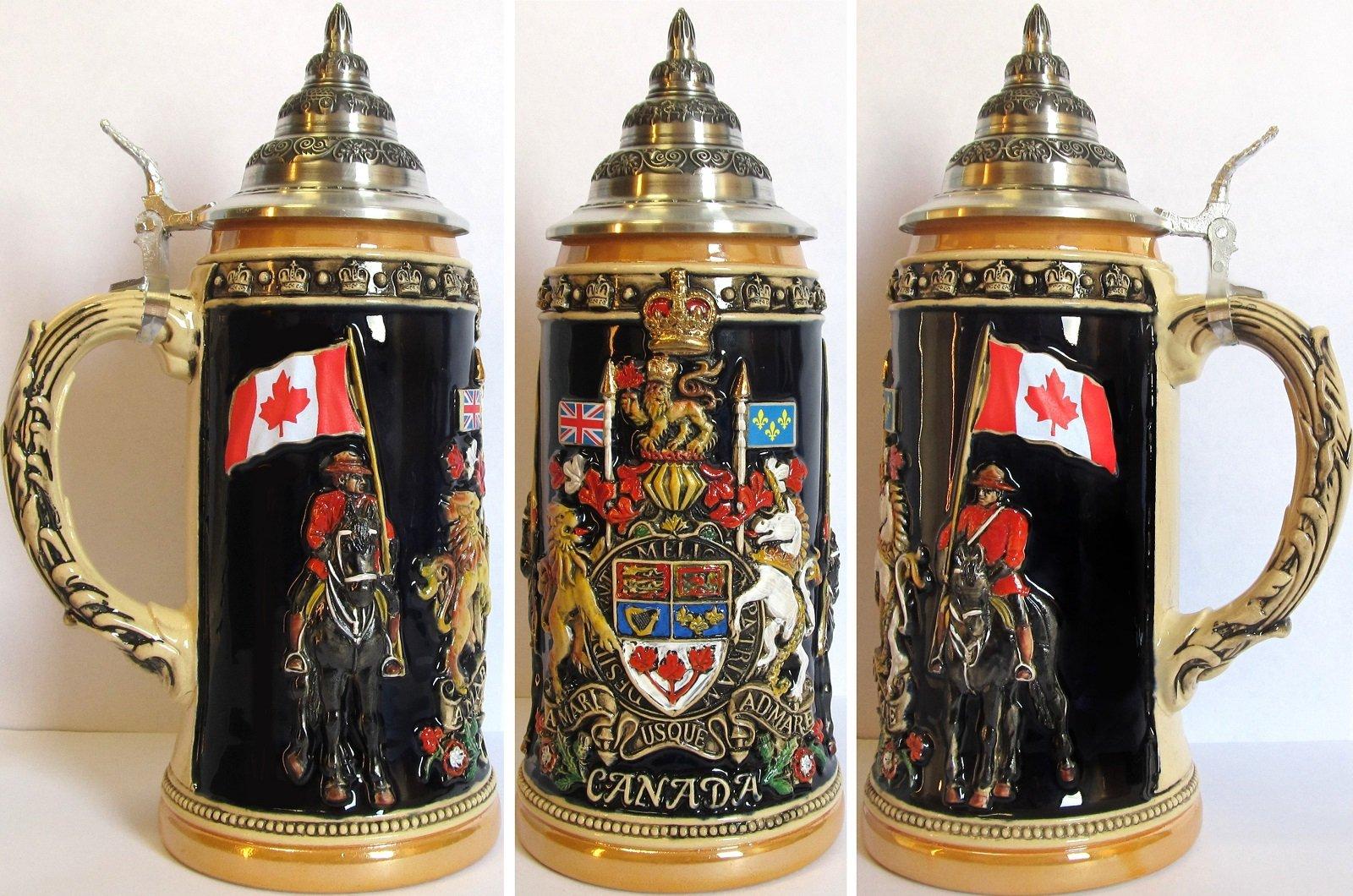 Canada Royal Coat of Arms LE German Beer Stein .75L Canadian Mounties ONE Mug