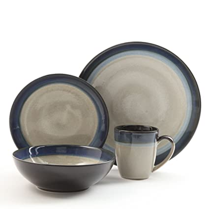 Gibson Couture Bands 16-Piece Dinnerware Set Blue and Cream  sc 1 st  Amazon.com : dinnerware sets blue - pezcame.com