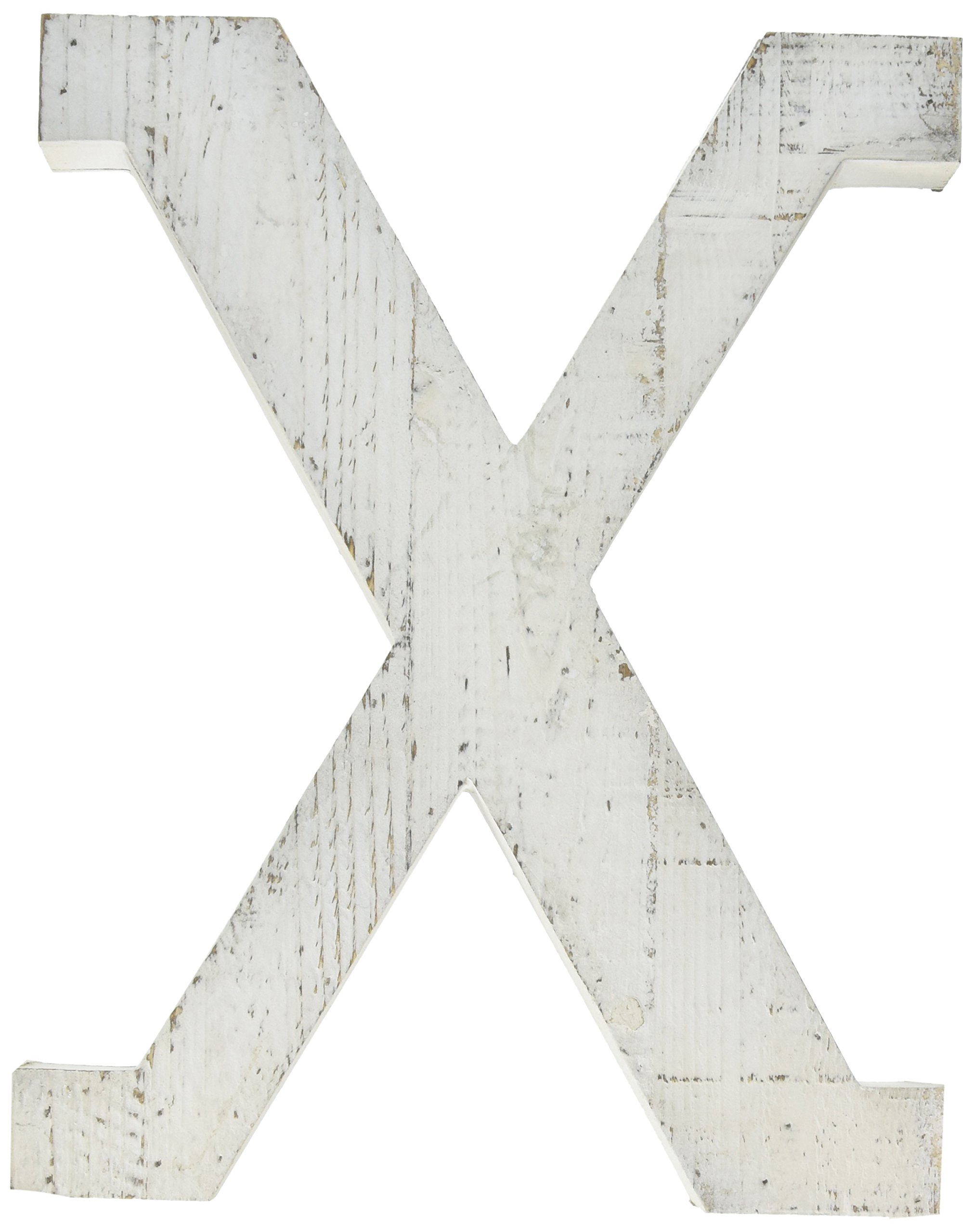 Adeco Wooden Hanging Wall Letters ''X'' - White Decorative Wall Letter of Living Room, Baby Name and Bedroom Decor, Whitewash by ADECO Trading