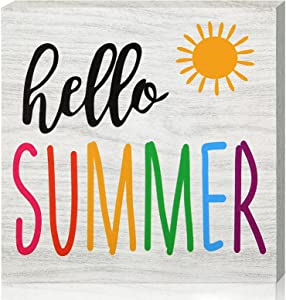 Hello Summer Sign Wooden Farmhouse Hello Summer Block Sign Rustic Sun Sign Tiered Tray Decor 6 x 6 Inch for Summer Home Indoor Outdoor Decoration Supplies (Light Color)