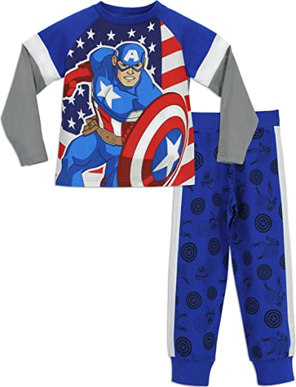 Avengers Marvel Ensemble De Pyjamas Gar/çon Captain America 4//6//8//10 Ans