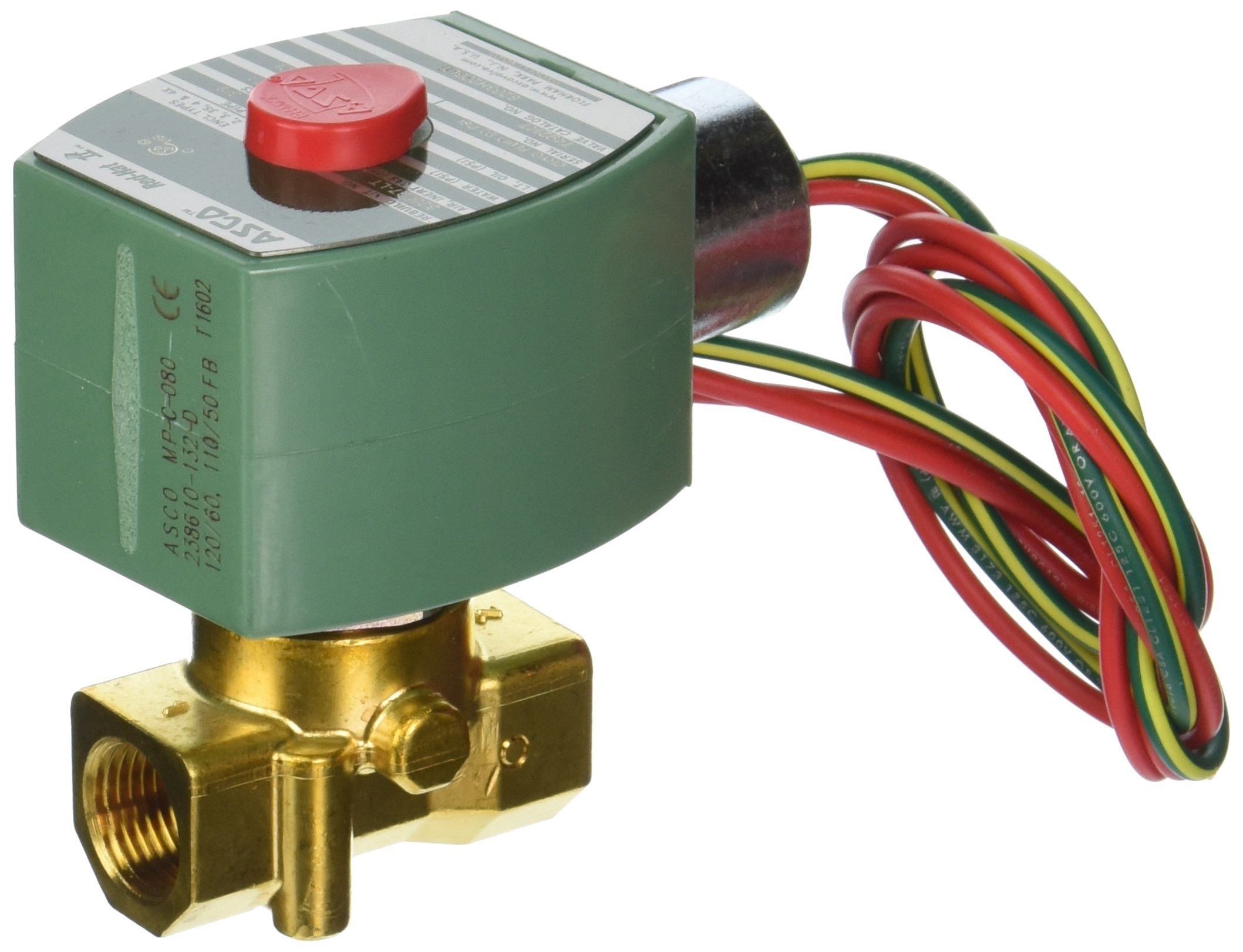 ASCO 8263H206LT-120/60,110/50 Brass Body Direct Acting/Pilot Operated Cryogenic Valve, 3/8'' Pipe Size, 2-Way Normally Closed, PTFE Sealing, 7/32'' Orifice, 0.73 Cv Flow, 120V/60 Hz, 110V/50 Hz by Asco