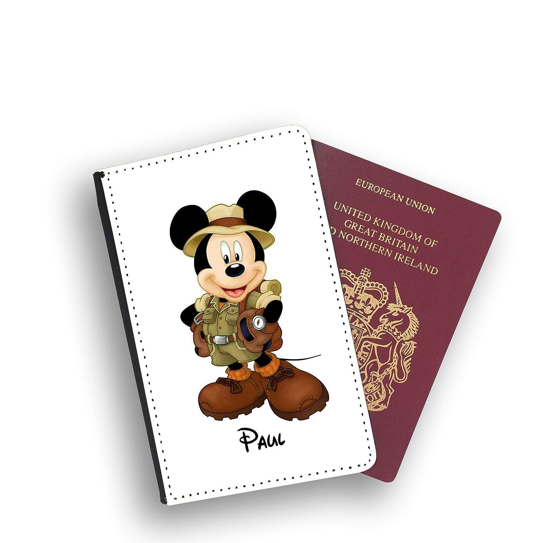 Explorer Mickey Mouse Disney /Étui pour Passeport et /étiquette de Bagage en Similicuir Multicolore Multicolore Luggage Tag