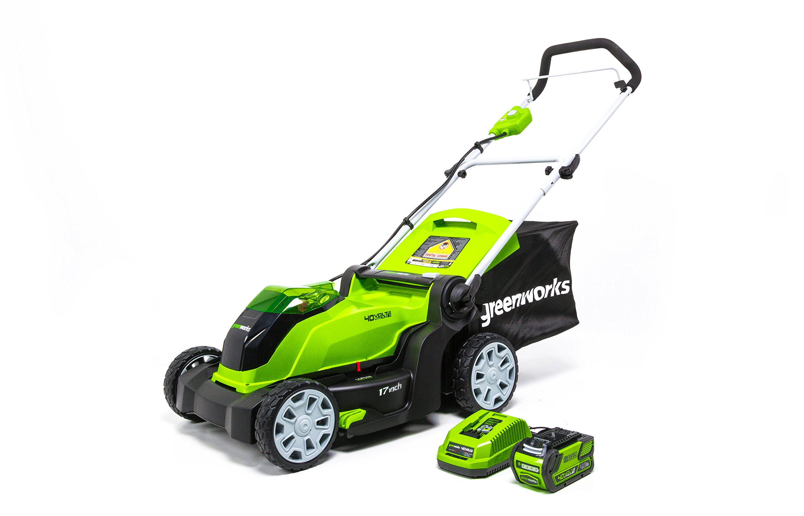 Greenworks 17-Inch 40V Cordless Lawn Mower, 4.0 AH Battery Included MO40B411 by Greenworks