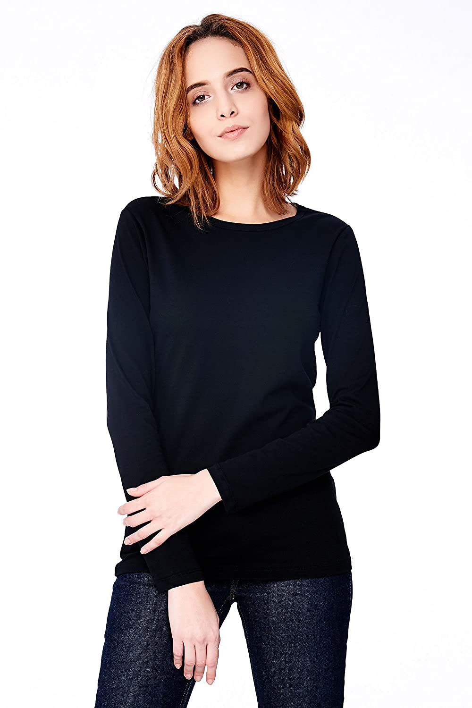 cdd81376aca90 HIYIN Women s Long Sleeve Fem Fit Essential Tee Plain Cotton Casual T Shirt  ... at Amazon Women s Clothing store