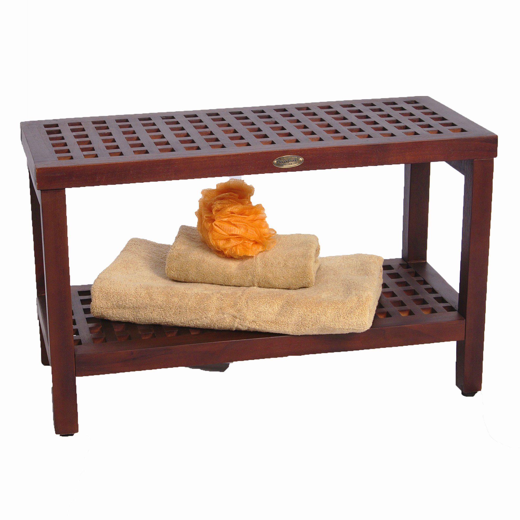 Espalier Teak Shower Bench With Shelf- 30'' Length- Contemporary Lattice Pattern