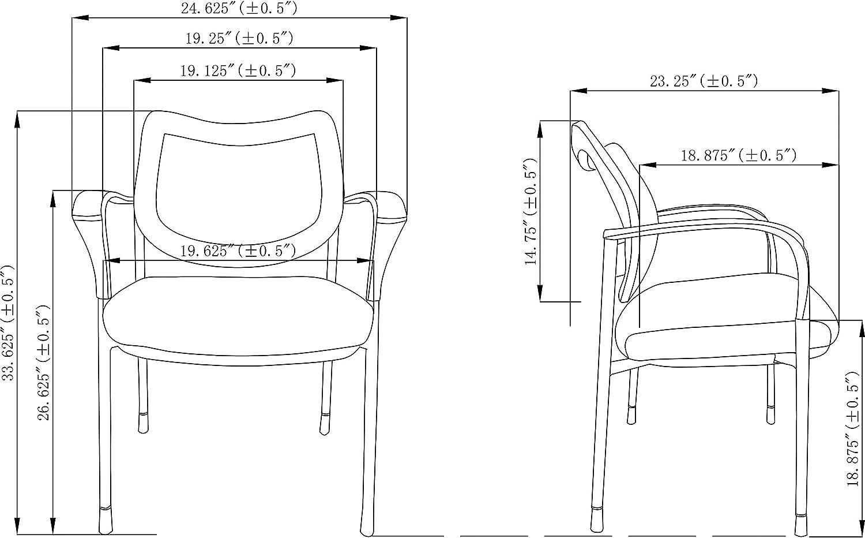 "Black 33.6/"" x 24.6/"" x 23.9/"" Lorell 60511 Mesh Back Guest Chair"