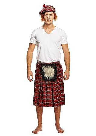 Scottish Tartan Kilt /& Hat Mens Funny Stag Fancy Dress Costume