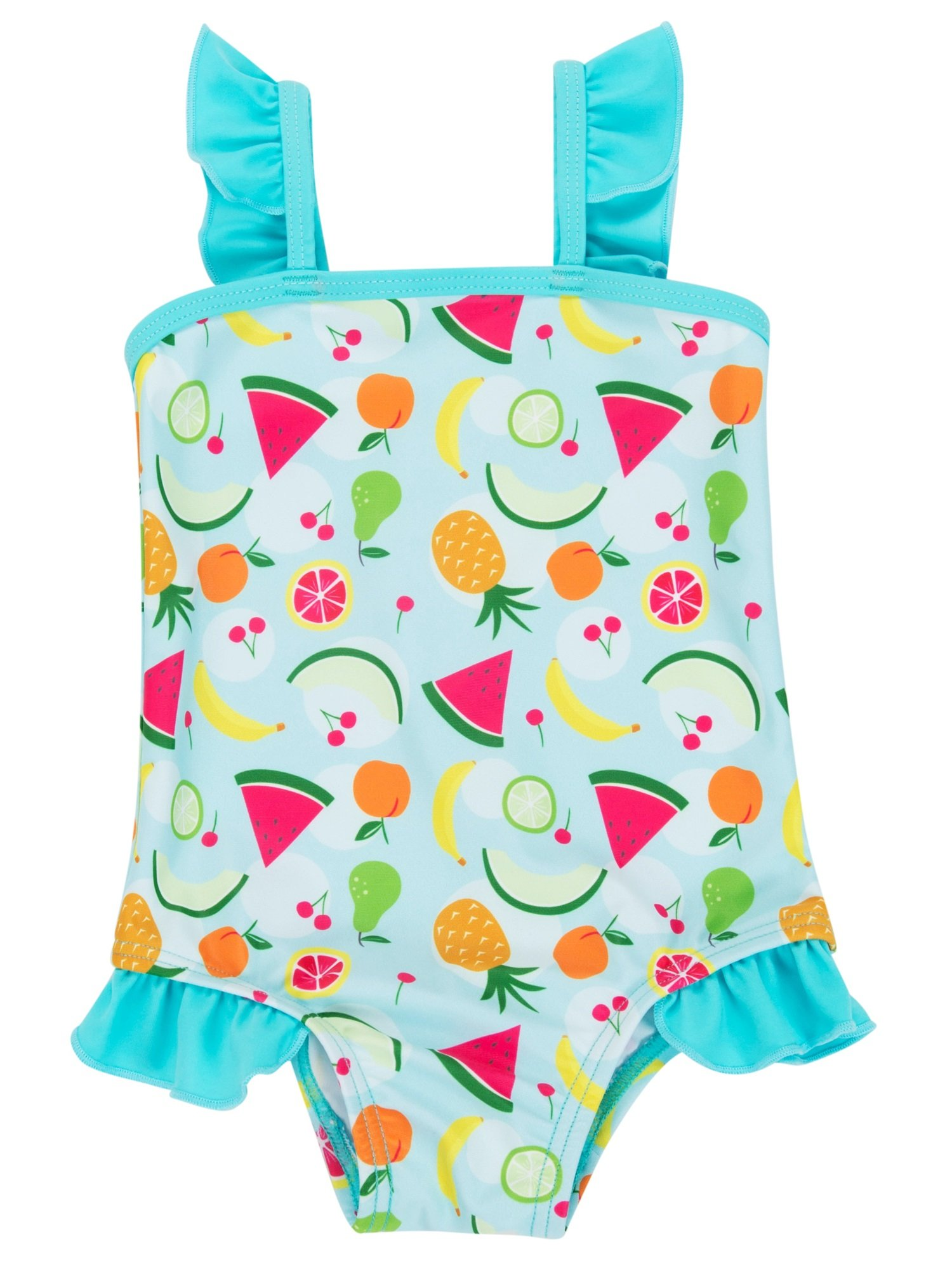 ATTRACO Girls Summer one Piece Bathing Suit Ruffle Swimsuit Blue 12-18 Months