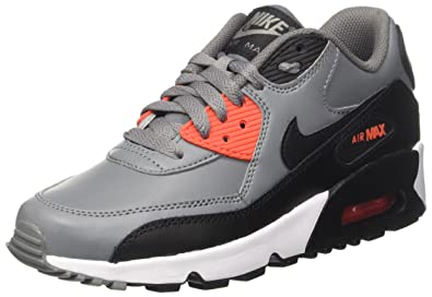 518a9f182c NIKE Youth Air Max 90 Black Grey Leather Black Grey Leather Trainers 36.5 EU