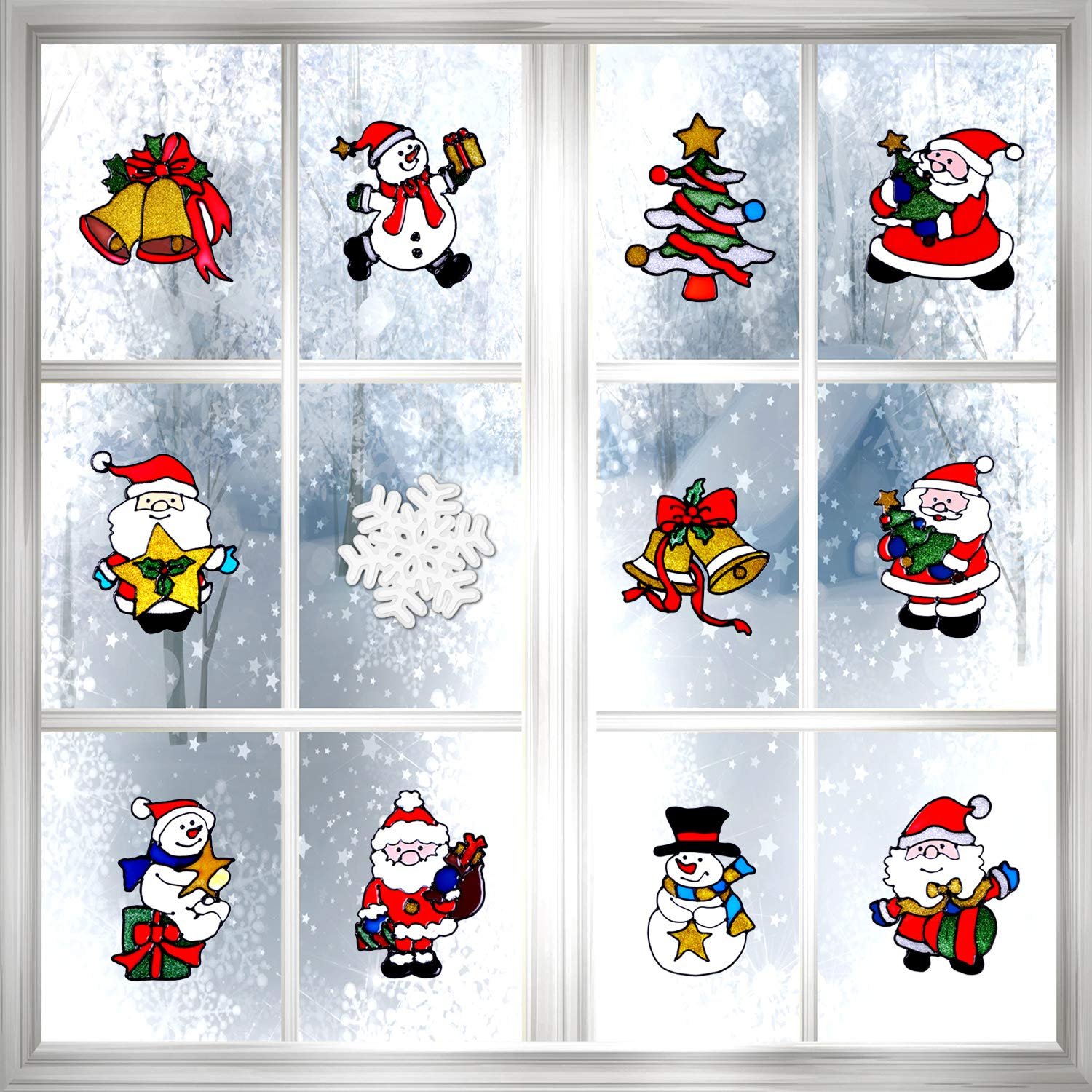 Boao 12 Pieces Christmas Window Stickers Clings Wall Decal for Christmas Decoration, 12 Styles