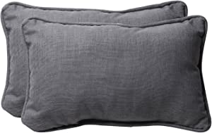 "Pillow Perfect Outdoor/Indoor Rave Graphite Tufted Bench/Swing Cushion, 11.5"" x 18.5"", Gray, 2 Count"