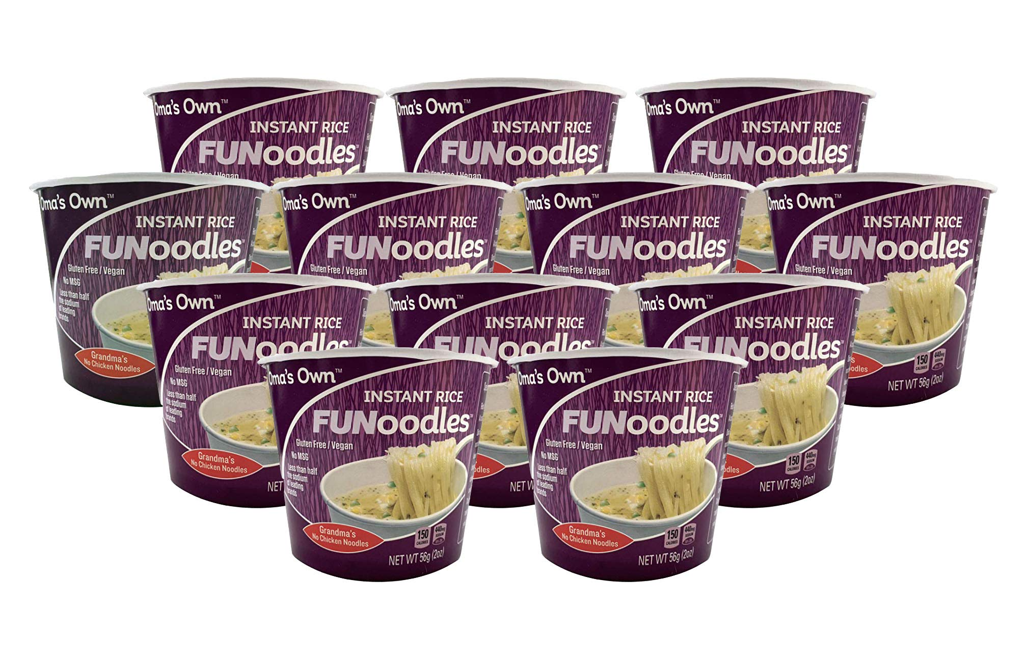 Oma's Own FUNoodles (Grandma's No Chicken Noodles) Vegan, Gluten Free, No MSG, Non-GMO, 2 oz cups (12 count) ... by OMA'S OWN