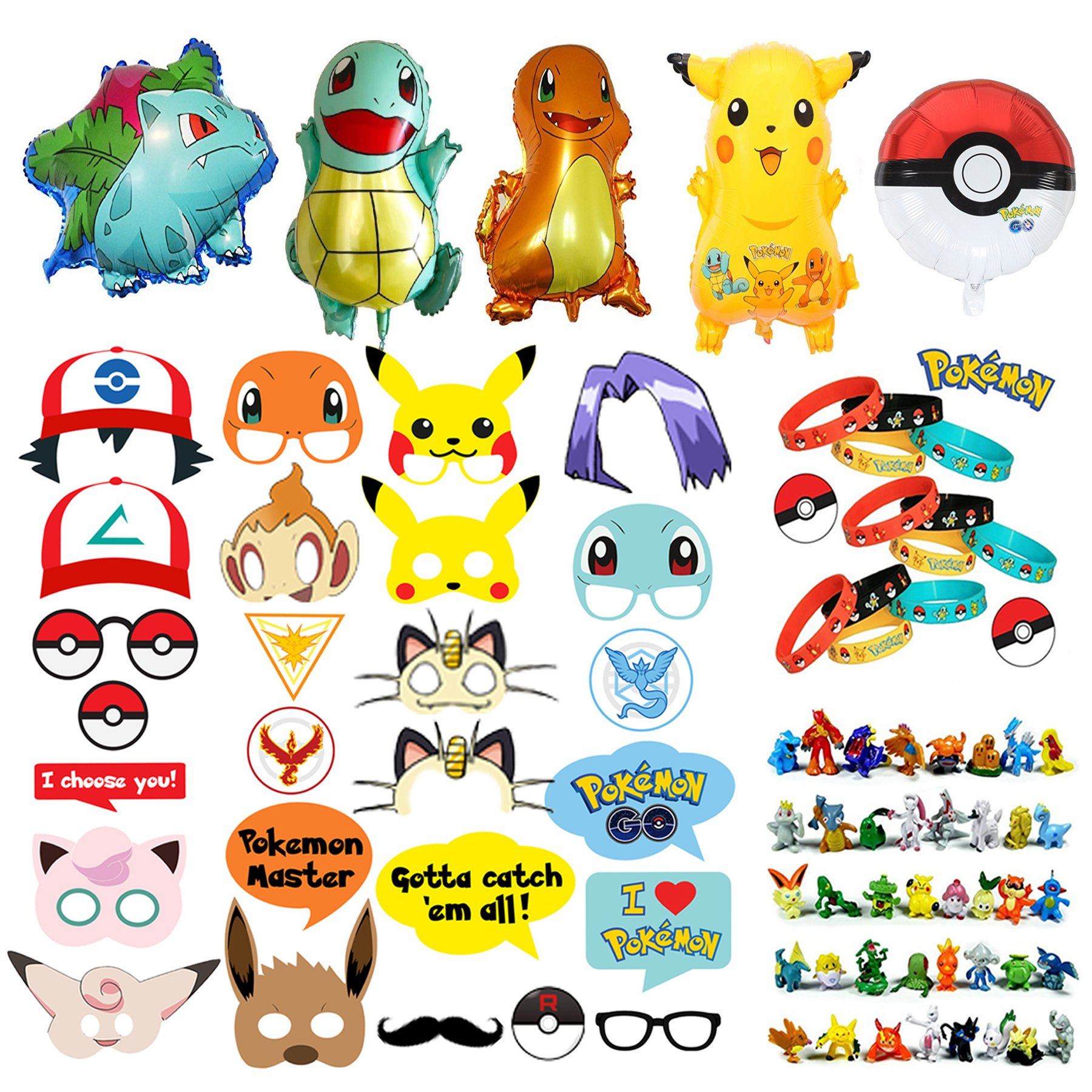 Pokemon Party Supplies Bundle Favors Pack-24 Action Figures,12 Bracelets, 5 Balloons and 26 Photo Booth Props Suitable for Birthday Theme Party by generic