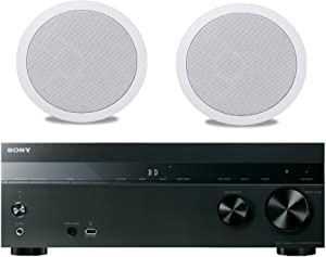 """Sony 5.2-Channel 725-Watt 4K A/V Home Theater Receiver + Polk Easy-to-Install High-Performance Surround Sound 8"""" 2-Way in-ceiling Speaker System (Pair)"""