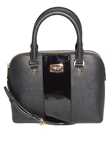 cf37c65289cf Michael Kors - Met Center Stripe Cindy Small Dome Leather Satchel - Black   Handbags  Amazon.com