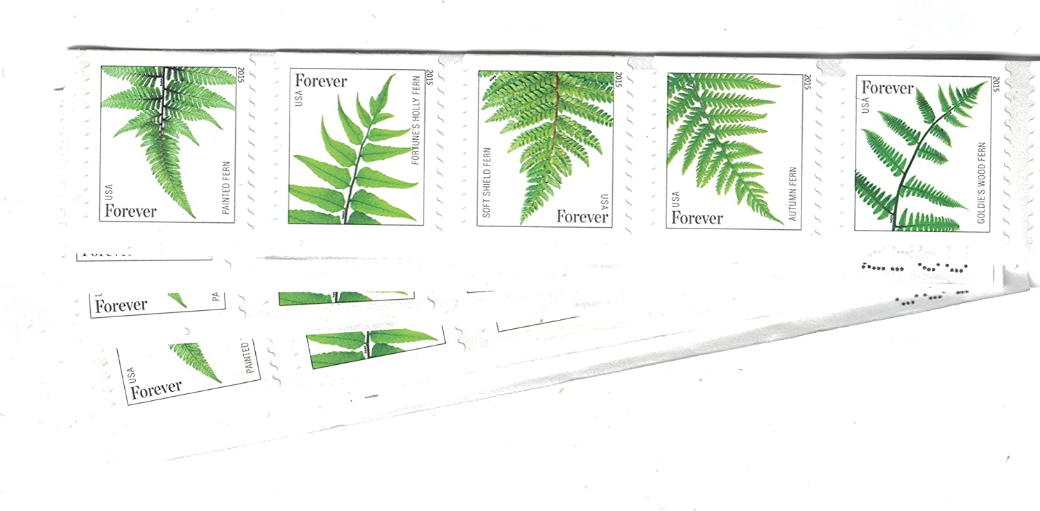 USPS Ferns Stamps - 50 Forever Stamps (5 Strips of 10 Stamps)