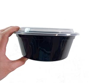 50 sets 32oz Round Food Containers Meal Prep Microwavable Reusable Plastic BPA Free