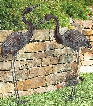 CHSGJY Bronze Crane Pair Metal Garden Statues Mystical Bird Yard Art Heron  Sculpture