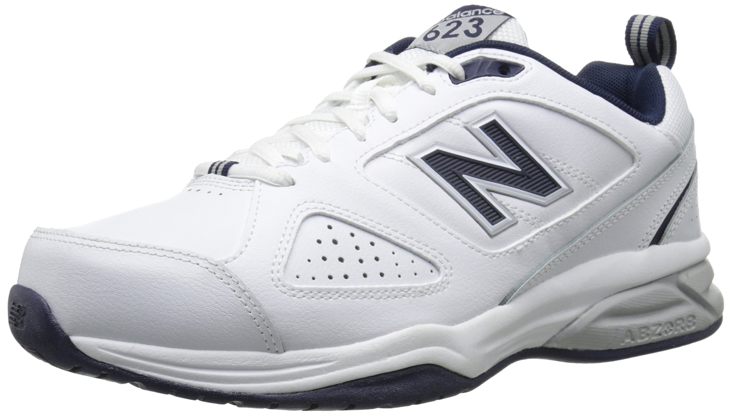 New Balance Men's MX623v3 Casual Comfort Training Shoe,  White/Navy, 8 M US