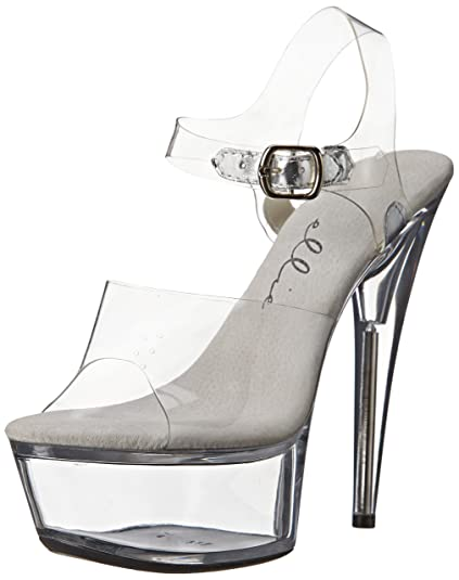 98095fdd5ee Ellie Shoes Women s 6 Inch Pointed Stiletto Heel Sandal with Ankle Strap  (Clear 5