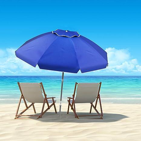 Pure Garden 50 Lg1094 Sombrilla De Playa Con Inclinación De 360 Grados Portátil Al Aire Libre Toldo Con Protección Uv Ancla De Arena Funda De Transporte 7 Pies Azul Jardín Y Exteriores