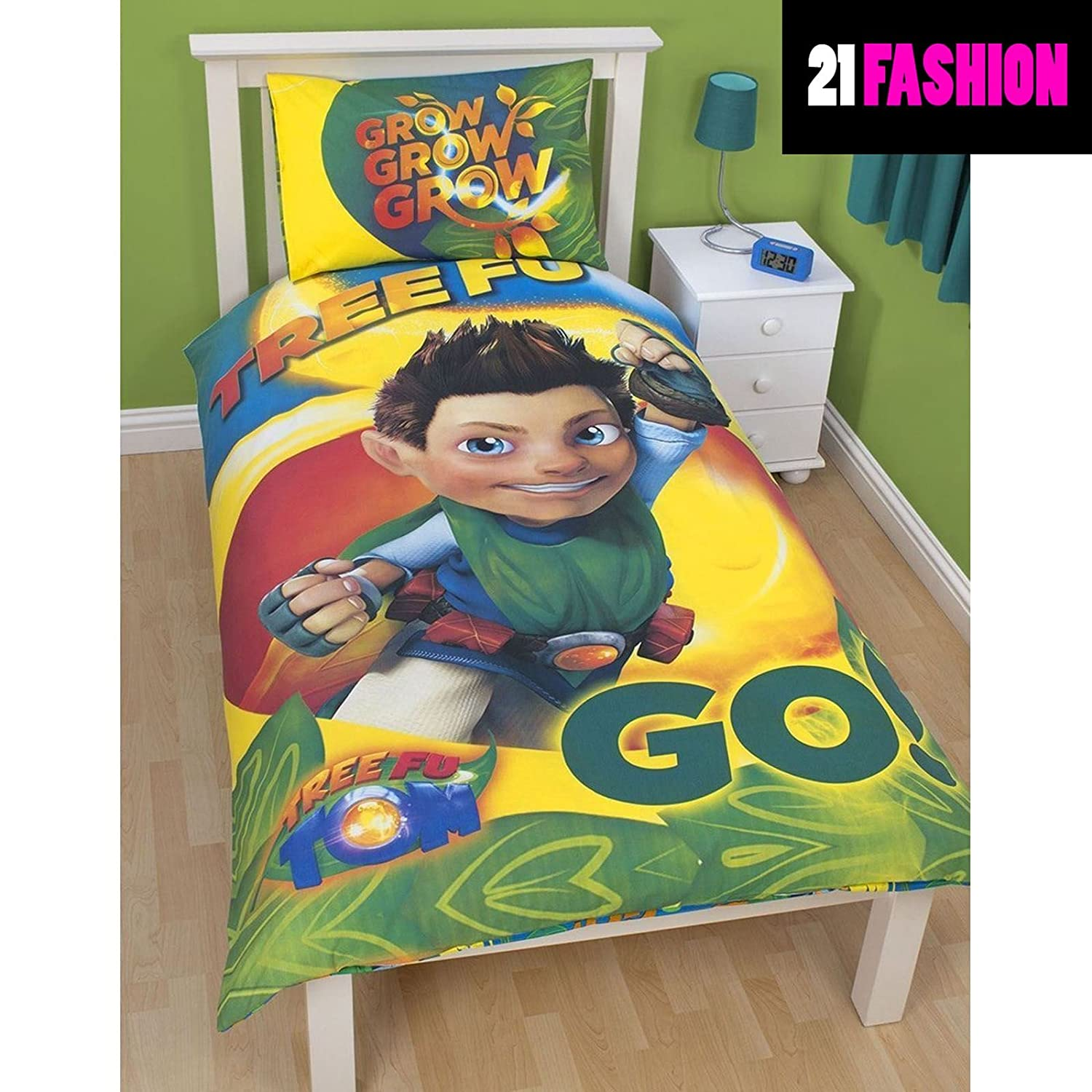 Children Tree Fu Tom Leaves Reversible Single Duvet Bedroom Bedding Set TREE FU TOM LEAVES PRINT 200 X 135 CM DigitalSpot