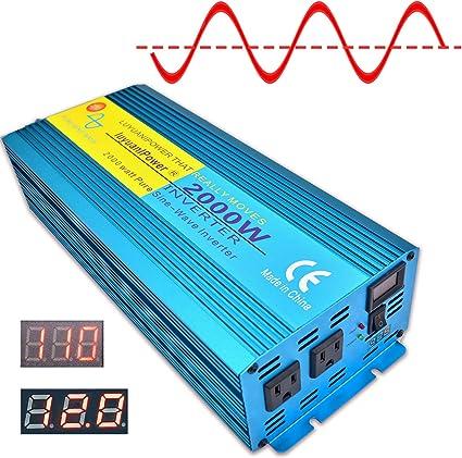 Fydun Inversor de onda sinusoidal correcci/ón Convertidor de 12 V 220V Inversor de energ/ía confiable de 2000W con panel solar UE para uso continuo de computadoras port/átiles en el autom/óvil Rojo