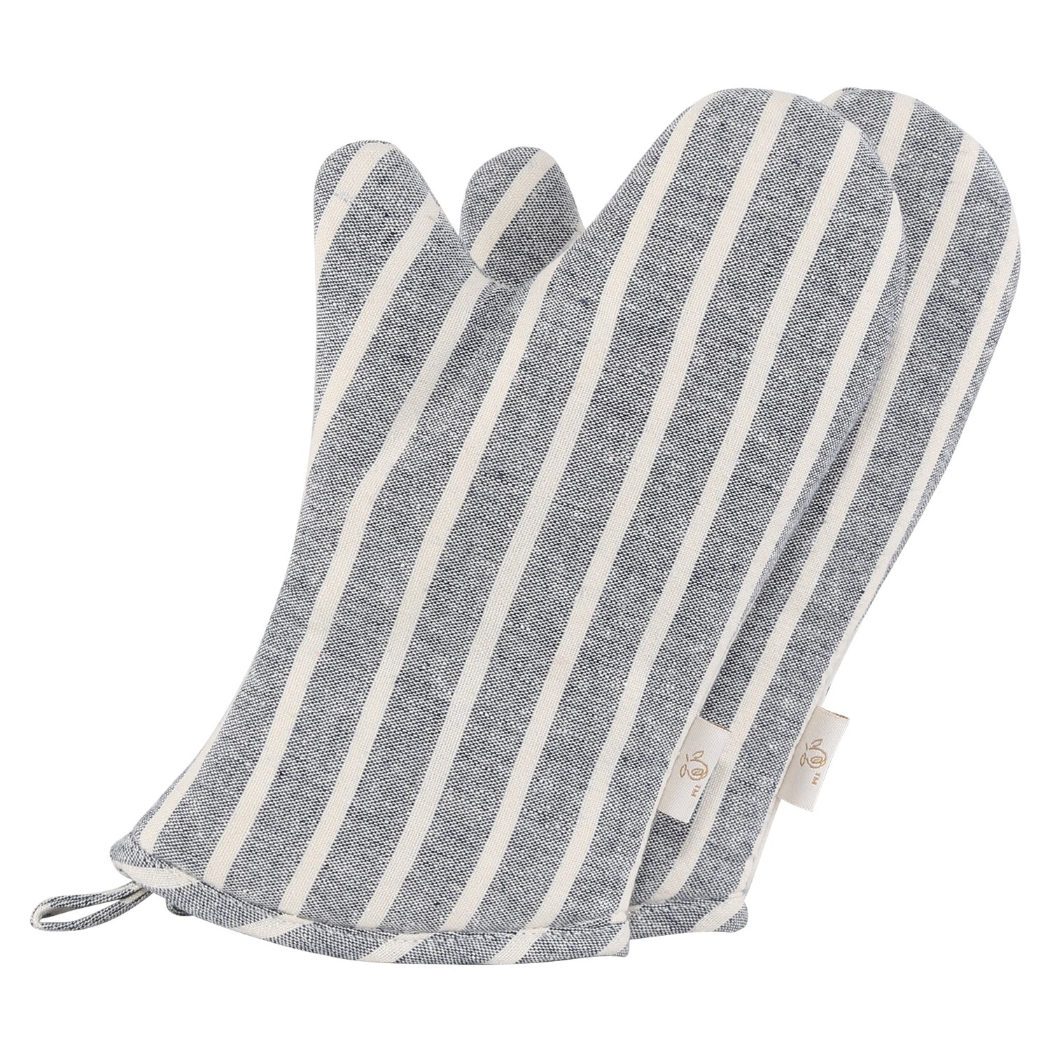 NEOVIVA Denim Quilted Heat Resistant Oven Mitt for Children, Set of 2, Chalk Striped Wild Dove