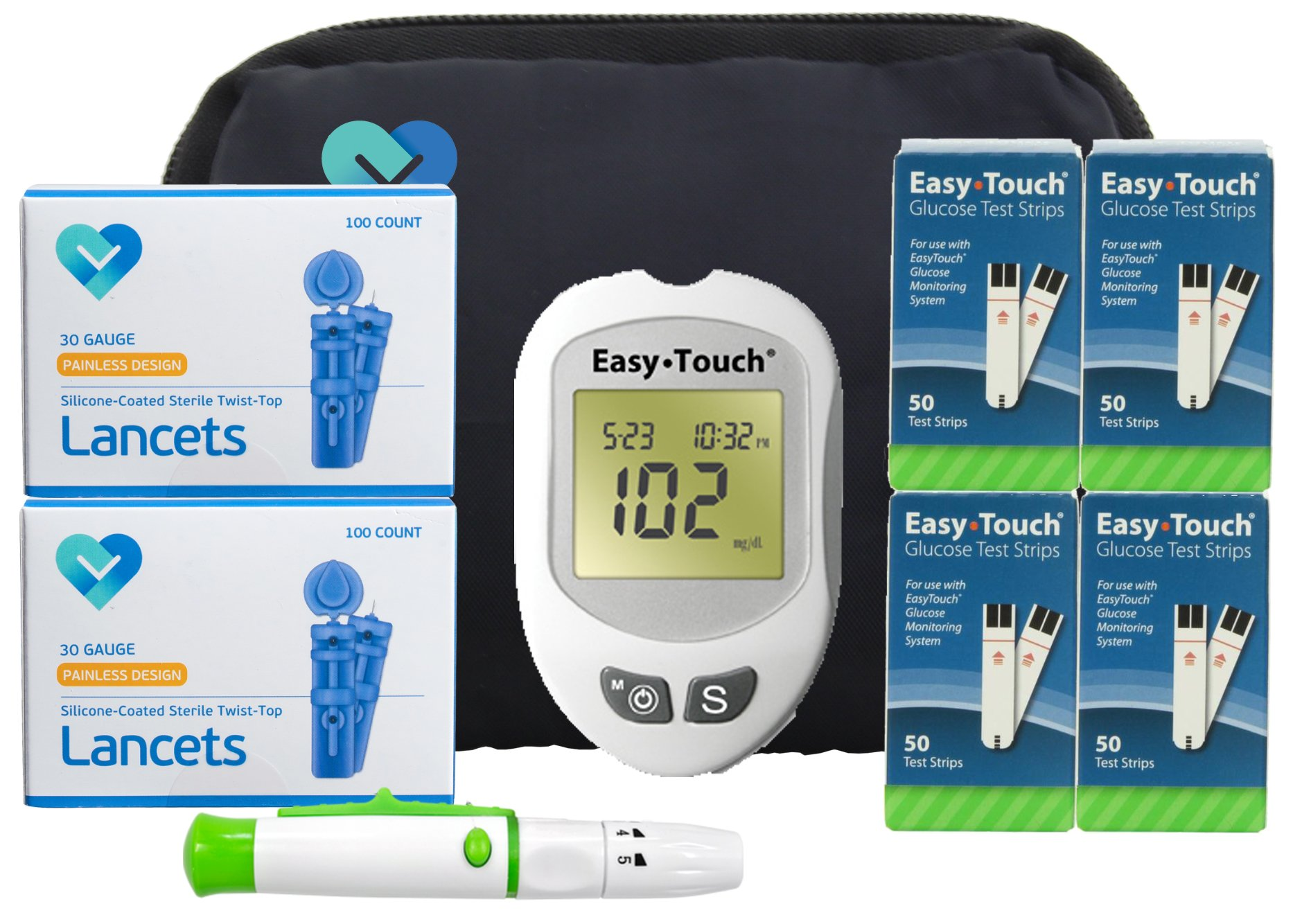 Easy Touch Diabetes Testing Kit, 100 Count | Easy Touch Meter, 100 Easy Touch Blood Glucose Test Strips, 100 Lancets, Easy Touch Lancing Device, Owner's Manual, Log Book & Carry Case (200 Count)