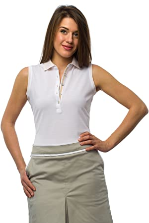 JELFY Charlene Golf Mujer Polo sin Mangas 100% Pima de algodón ...