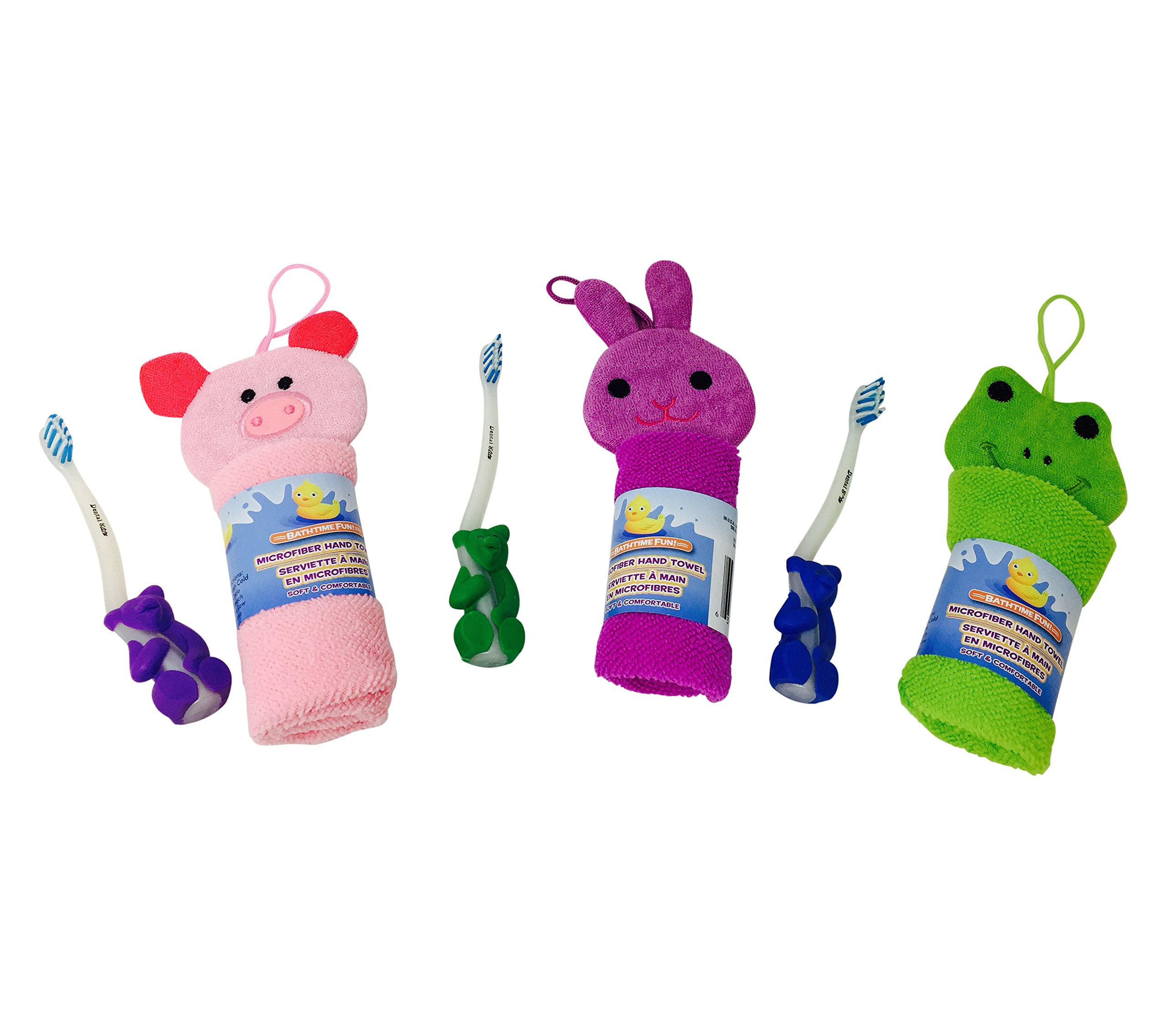 Hobbeez Adorable Microfiber Hand Towel and Toothbrush Set (Set of 3) with Pig, Bunny and Frog Designs