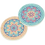 Mosaic Pattern Floral Multicolor Ceramic Car Coaster Pack (Set of 2)