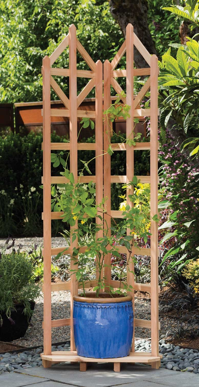 Arboria Deco Garden Trellis Cedar Wood 70 Inch Height Freestanding with Integrated Base for Pots