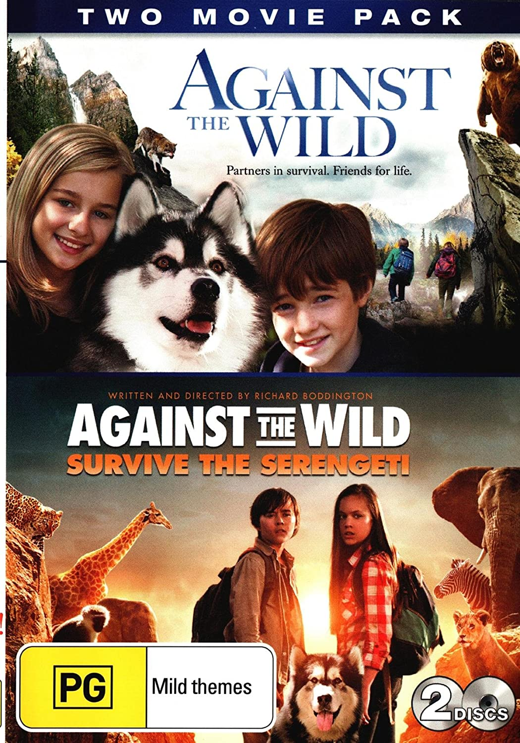 2fb1d9bbe8da51 Amazon.com  Two Movie Pack  Against the Wild + Against the Wild Survive the  Serengeti (DVD)  Movies   TV