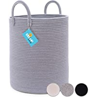 Cotton Rope Basket in Full Grey | Tall Storage Basket with Long Handles | Decorative Blanket Basket for Living Room and…