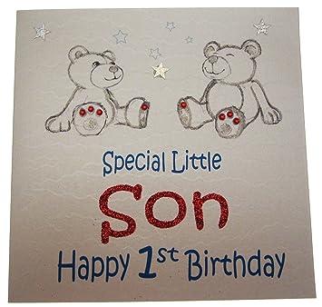 WHITE COTTON CARDS GL106 Teddy Bears Special Little Son Happy 1st Birthday Handmade Card