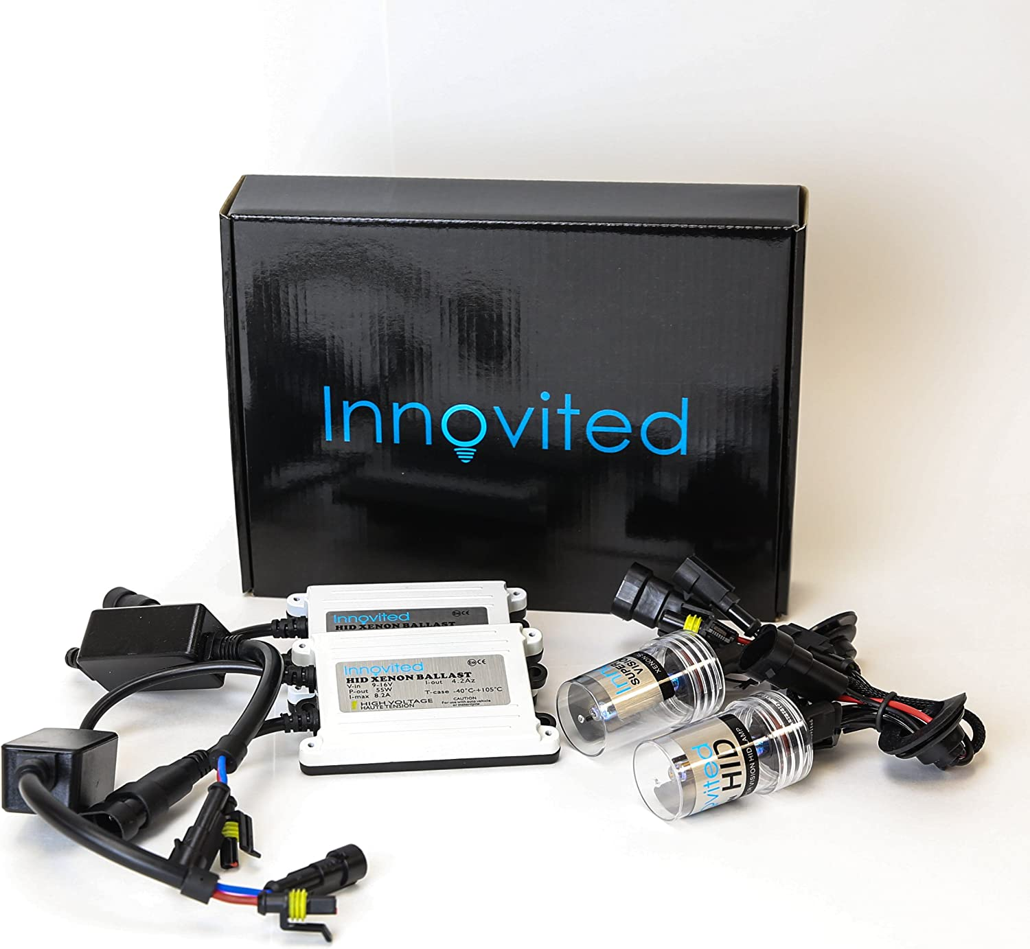 D2S D2R D2H Light Blue 10000K Innovited 55W AC Xenon HID LightsAll Bulb Sizes and Colors with Digital Slim Ballast 2 Year Warranty