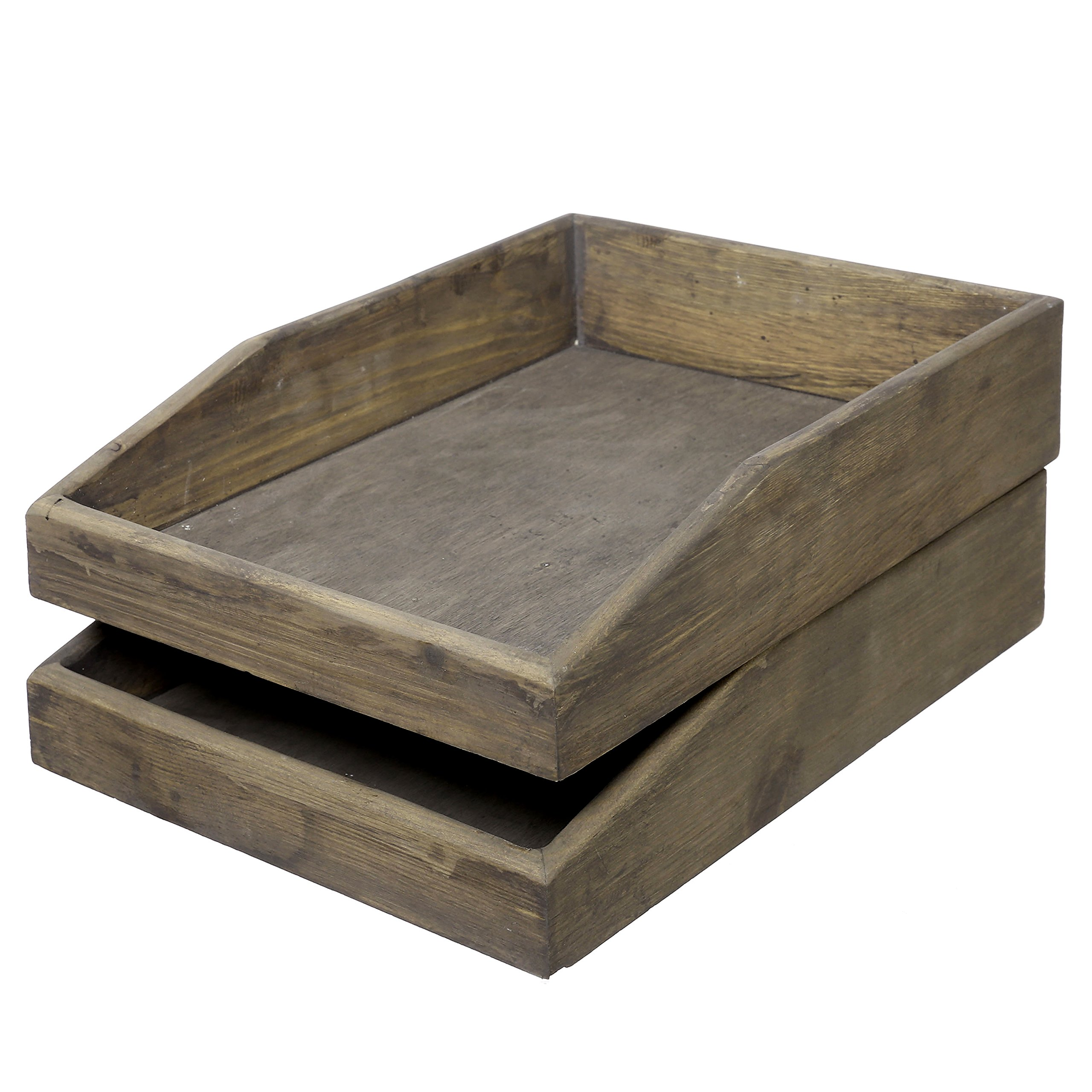 Set of 2 Barnwood Gray Wooden Stackable Document & Paper Trays by MyGift (Image #1)