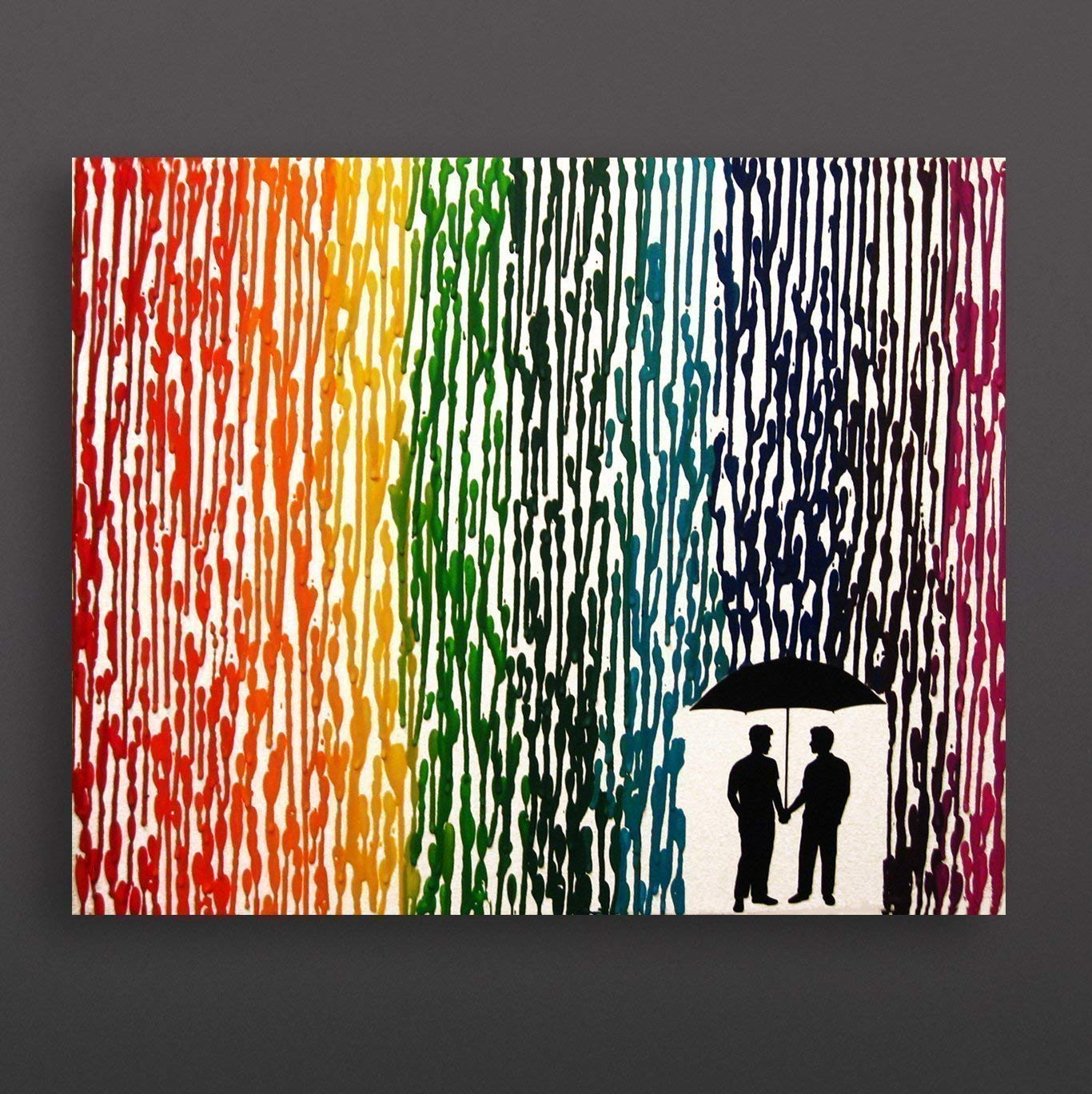 Gay Wedding Gift, Gay Couple Gift, Melted Crayon Art, Rainbow Painting 16 x20 Canvas
