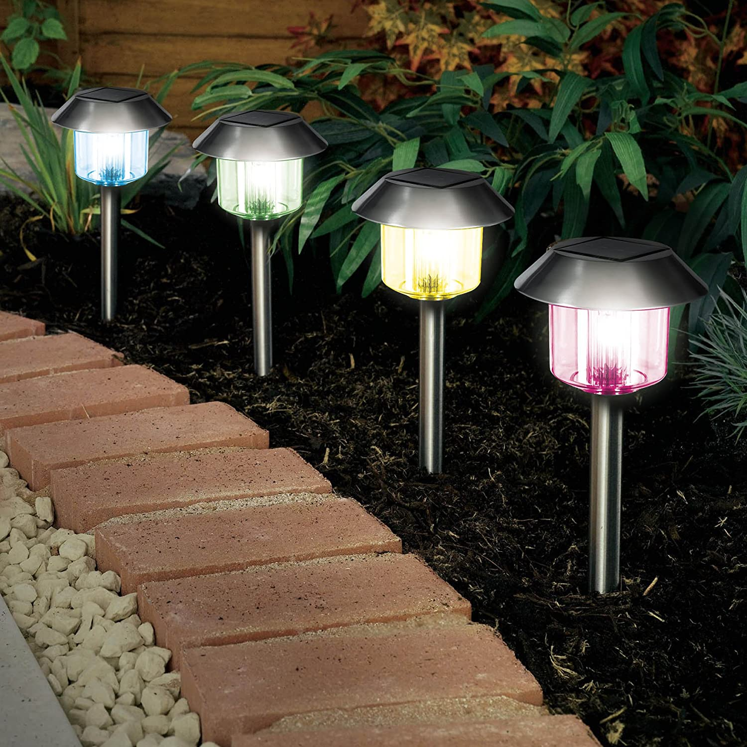 solalite 8 x colour changing stainless steel solar powered garden