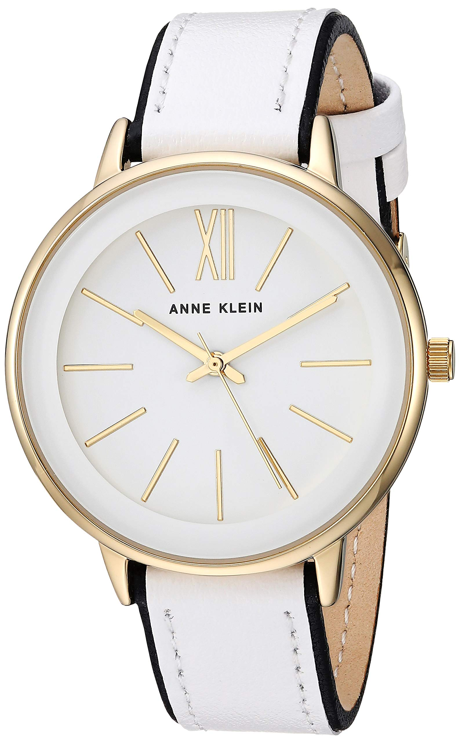 Anne Klein Women's AK/3252WTBK Gold-Tone Accented Black and White Leather Strap Watch by Anne Klein