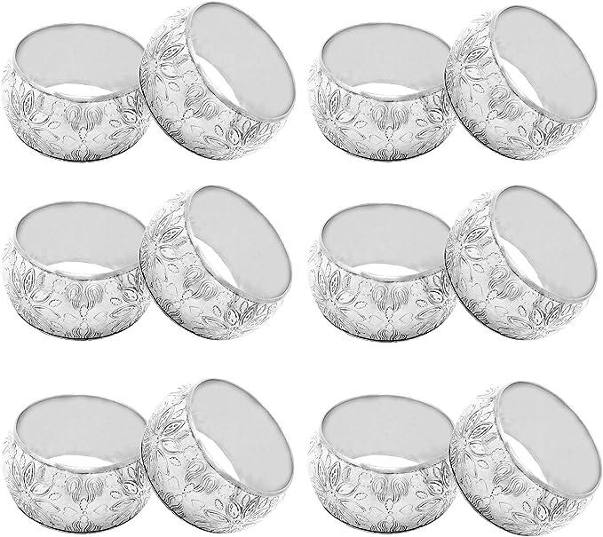 SwirlColor Conjunto de 10 Bling del Rhinestone de los anillos de servilleta silver