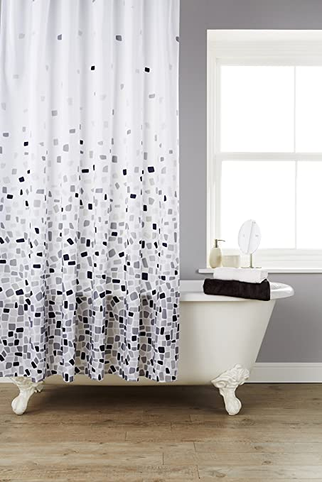 Vibrant Mosaic Grey On A White Background Polyester Shower Curtain ...